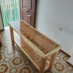 Reclaimed Pallet Wood Table with Shelf
