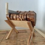 Set of 8 rustic Olive Wood coasters with pallet wood stand and saw