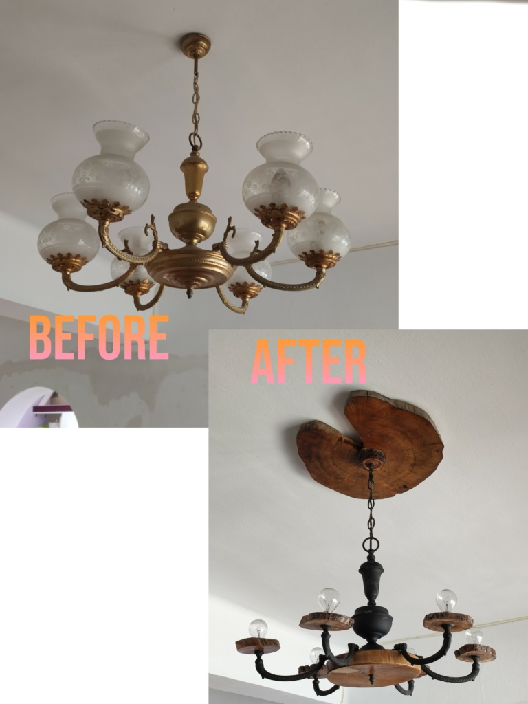 Before and after Front room light